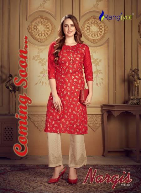 RANGJYOT NARGIS VOL-1 Latest fancy Heavy Designer Festive Wear Dolla silk top With Sequence Work pant Kurtis Collection