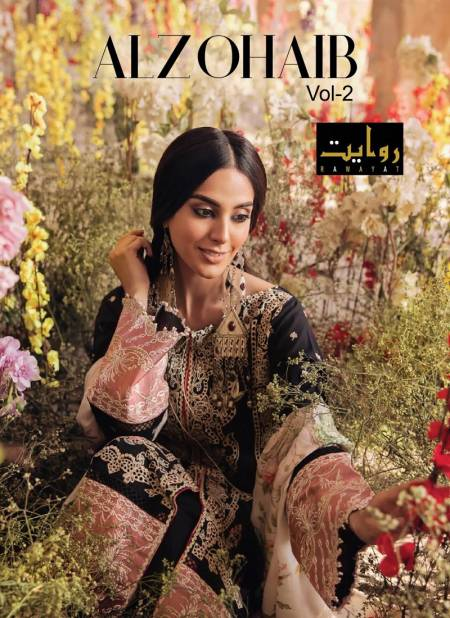 Rawayat Alzohaib 2 Lawn Collection 2021 Latest Fancy Casual Wear Designer Dress Material Collection