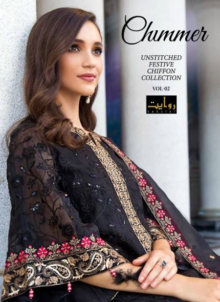 Rawayat Chimmer Vol 2 Latest Designer Faux Georgette With Heavy Embroidery Worked Pakistani Salwar Suits Collection