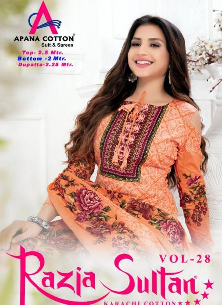 Razia Sultana Vol 28 Latest Designer Printed Pure Cotton Dress Material Collection