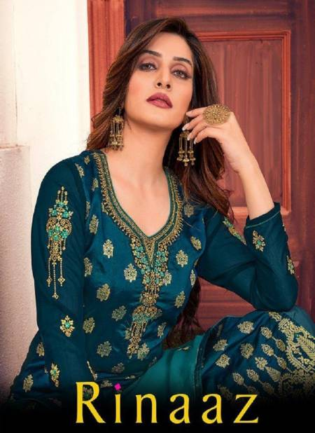 Rinaaz 1001 Series Latest Heavy Embroidery Sequence Work Georgette Designer Suits With Diamond Work Embroidery Lace Patti Dupatta