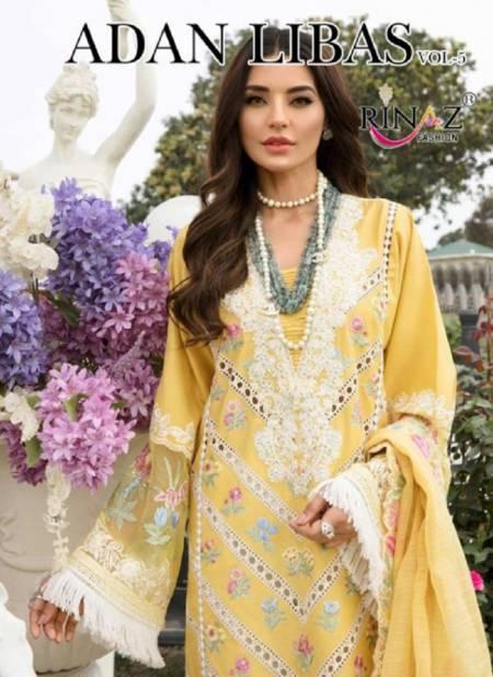 Rinaz Adan Libas 5 Latest Fancy Designer Heavy Festive Wear Cambric Cotton Pakistani Salwar Suits Collection