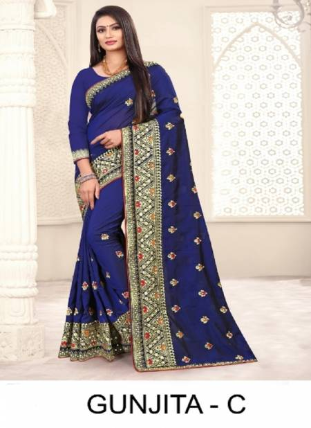 Ronisha Gunjita Latest Heavy Embroidery Worked Designer Festival Wear Art Silk Saree Collection