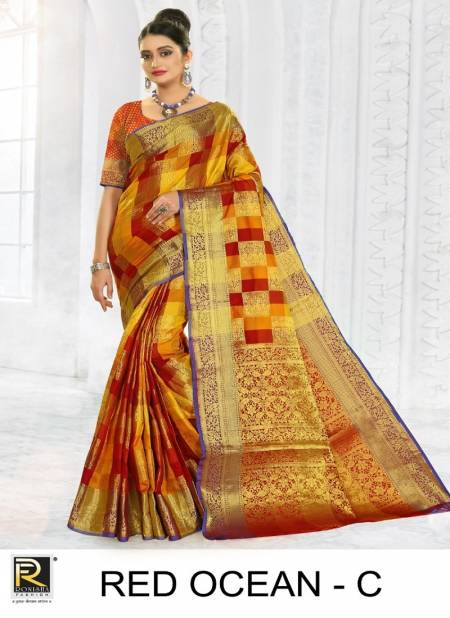 Ronisha Red Ocean Latest Fancy Designer Casual Wear Silk Fancy Casual Wear Saree Collection