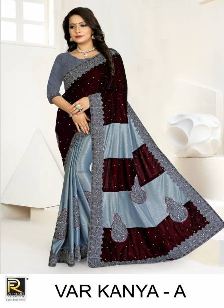 Ronisha Var Kanya Latest Fancy Festive Wear Lycra And Velvet Embroidery Worked Cut Paste Saree Collection
