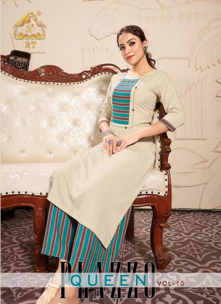 RT PALZZO QUEEN VOL-10 Latest fancy festive Wear Rayon Printed Heavy Kurti With plazzo Collection