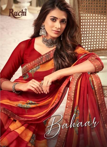 RUCHI BAHAAR Chiffon Satin Border Less Designer Daily Wear Printed Sarees Collections