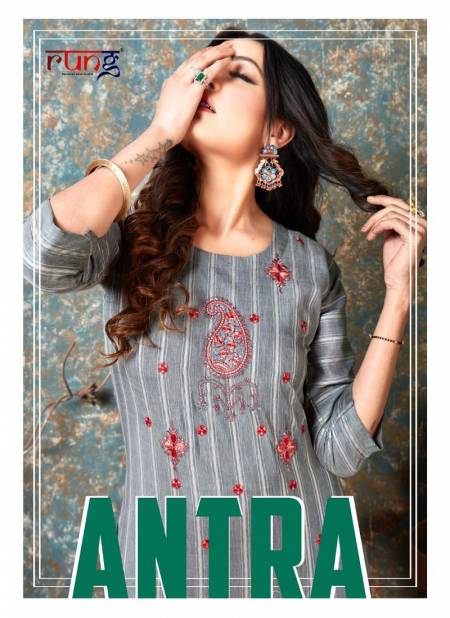 Rung Antra Latest fancy Designer Casual Wear Rayon With Embroidery Work Kurti Collection