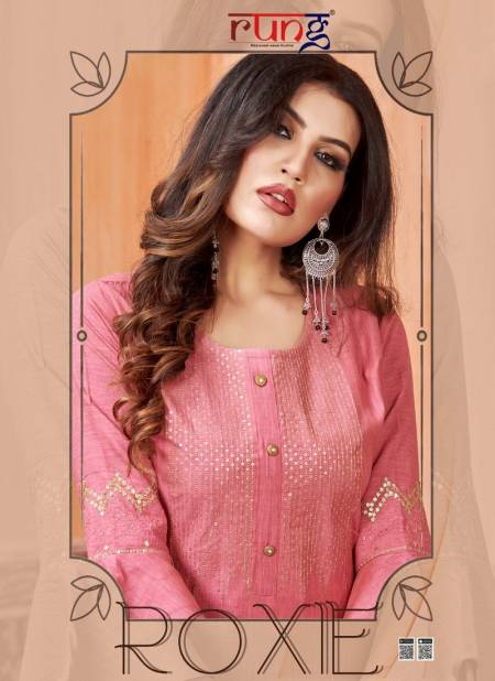 RUNG ROXIEHeavy Luxuriya Rayon With Manual Embroidery With Sequence Work Fancy Kurtis Collection