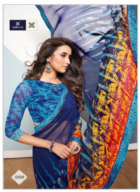 Hirva Sakhiya Latest Regular Wear Chiffon Printed With Full Lace Saree Collection Available Full Set At Wholesale Price