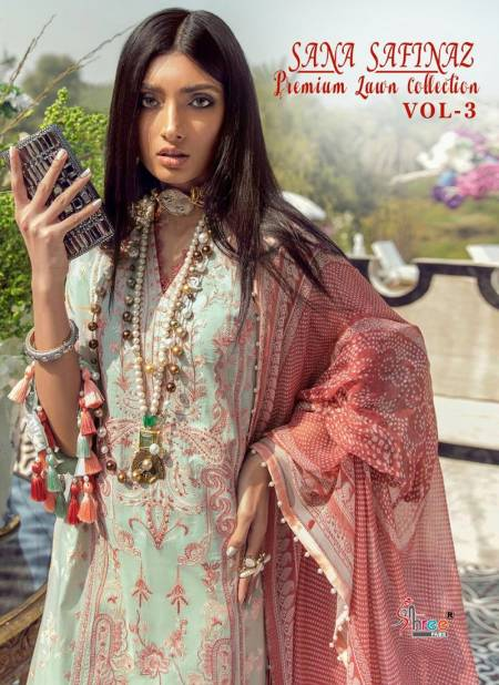 SANA SAFINAZ PREMIUM  LAWN COLLECTION VOL-03 Latest Fancy Designer Pure Lawn Cotton With Embroidery Work Pakistani Salwar Suit Collection