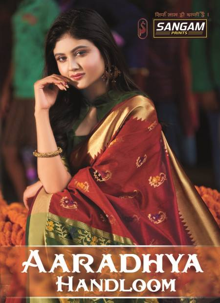 Sangam Aaradhya Latest Fancy Designer Festive Wear Heavy  Handloom Cotton Saree Collection