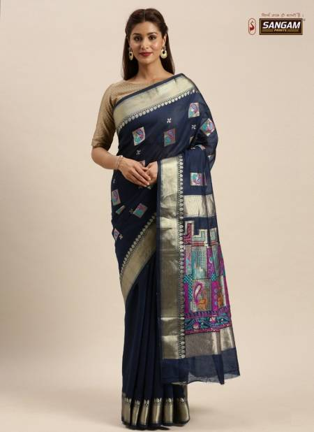Sangam Baluchari New Collection Of Festival Wear Chanderi Cotton Saree Collection