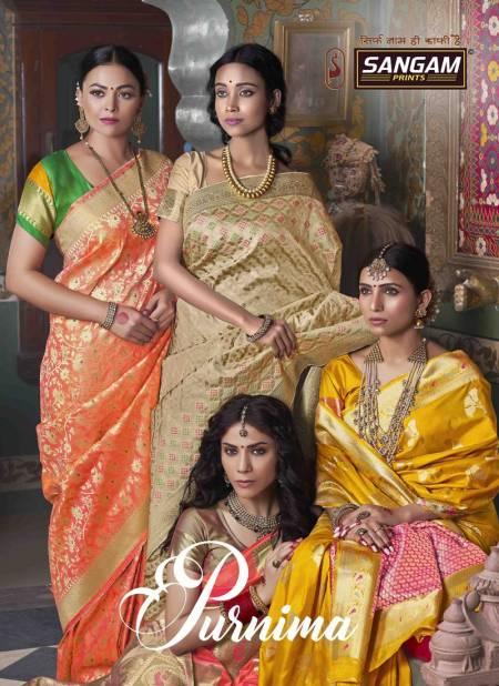 Sangam Purnima Designer Fancy Wedding Wear Banarasi Silk Printed Saree Collection