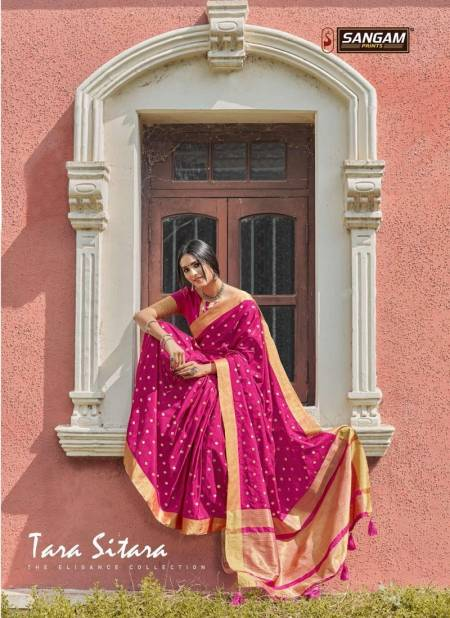 Sangam Tara Sitara Latest fancy Designer Feavy Festive wear Handloom Silk Sarees Collection