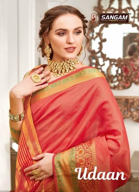 Sangam Udaan Latest Designer Rich Look Handloom Festive Wear Silk Sarees Collection