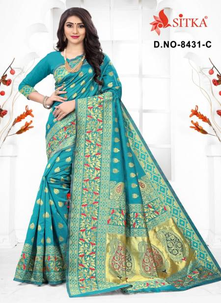 Sargam 8431 Latest Heavy Designer Wedding Wear Handloom Cotton Silk Designer Saree Collection