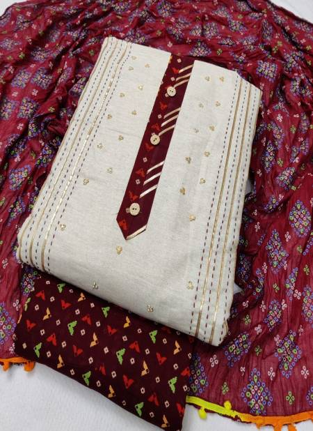 Sc 5044 Latest Designer Festive Wear Khadi Cotton Jaipuri Bandhani Print Dress Material Collection