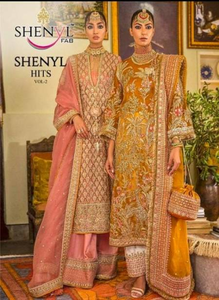 Shenyl 2 Latest Wedding Wear Full Heavy Embroidery And Diamond work Fox georgette Top With Heavy Dupatta Pakistani Salwar Suits Collection