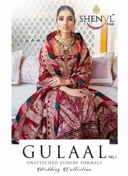 Shenyl Gulaal 1 Butter Fly Net With Heavy Embroidery And Diamond Work Top With Dupatta Pakistani Salwar Suits Collection