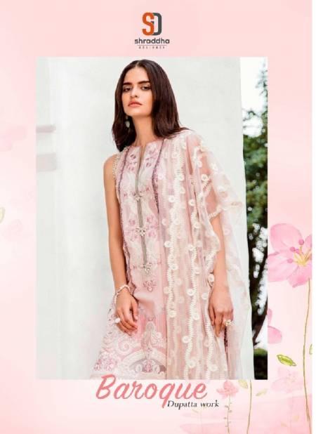 Shraddha Baroque Latest Fancy Designer Lawn Cotton Heavy Embroidery And Printed Dupatta Work Designer Pakistani Eid Collection