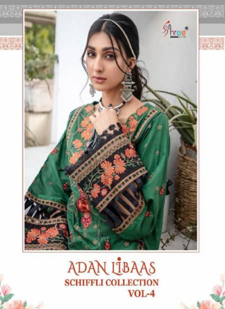 Shree Adan Libaas Schiffli Collection 4 Latest Fancy Casual Wear Pure Cotton Pakistani Salwar Suits Collection