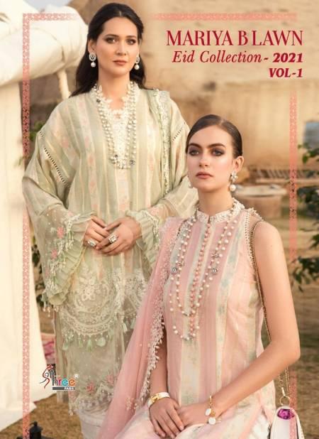 Shree Mariya B Lawn Eid Collection 2021 Vol 1 Latest Fancy Designer Festive Wear Pure Cotton Printed Pakistani Salwar Suits Collection