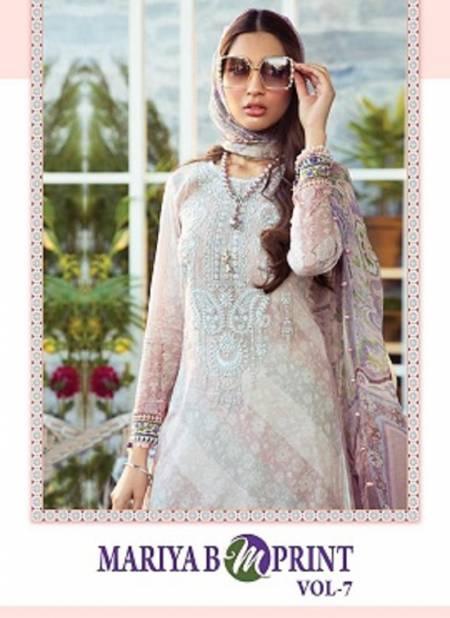 Shree Mariya B Mprint 7 Fancy Festive Wear Pure Cambric Lawn Print With Embroidery Pakistani Salwar Suits Collection
