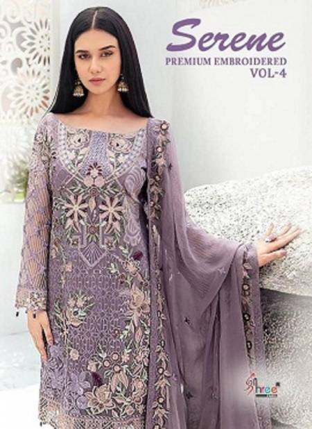 Shree Fab Serene Premium Embroidered Vol 4 Latest Heavy Designer Pakistani Dress Materisl Collection With Nazneen Embroidered Dupatta