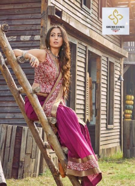 SHUBH SHREE ATHENA Latest Fancy Festive Wear Vichitra Digital Lace Patta Or Banarasi Border Plus Digital Lace Heavy Saree Collection