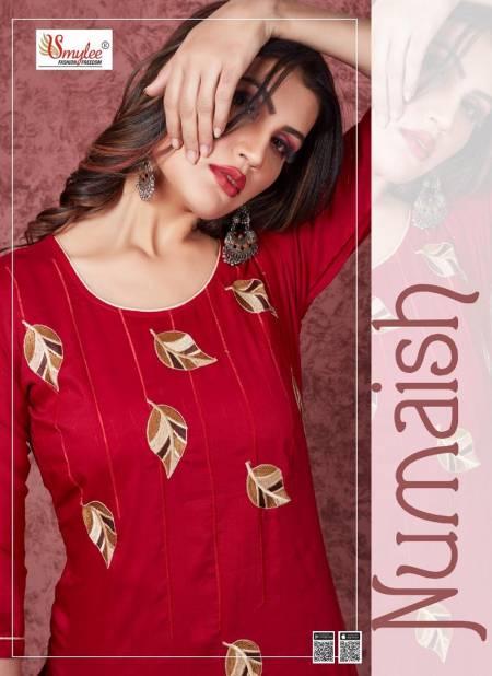 Smylee Numaish Designers Latest Fancy Festive Wear Heavy Silky Weaving Embroidery  Kurti Collection