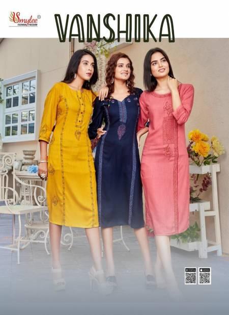 Smylee Vanshika Latest Fancy Designer Ethnic Wear  Heavy Slub Rayon Designer Kurti Collection