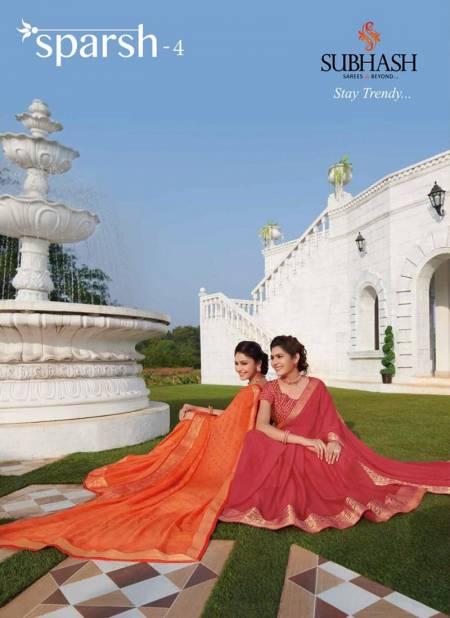 Subhash Sparsh -4 Latest Casual Wear Festive Wear Designer Chiffon Silk Saree Collection