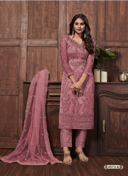 Super Hit 4573 Latest Heavy Net With Heavy Embroidery Work And Cording With Glitter Sequences Work Wedding Wear Salwar Kameez Collection