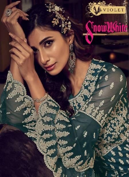 Swagat Violet Snow White Latest Designer Heavy Work Wedding Wear Salwar Suits Collection