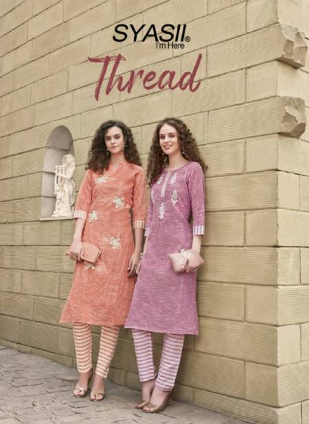Syasii Thread Latest Fancy Designer Regular Wear Khadi Cotton With Embroidery Kurti With Bottom Collection