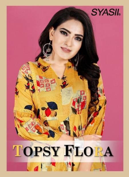 Syasii Topsy Flora Exclusive Designer Printed Stylish Rayon Designer Short Top Collection