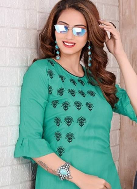Trendy Colours Latest Fancy Designer Heavy Rayon Casual Wear Embroidery Kurti With Bottom Collection