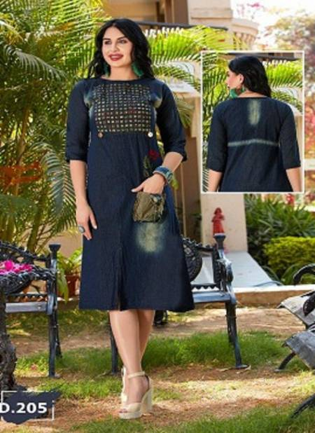 Trendy Destiny Blue Fancy Casual Wear Heavy denim cotton Designer Kurtis Collection