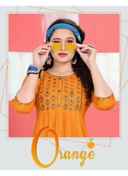 Trendy Orange Latest Fancy Designer Ethnic Wear Heavy Rayon Kurti Collection
