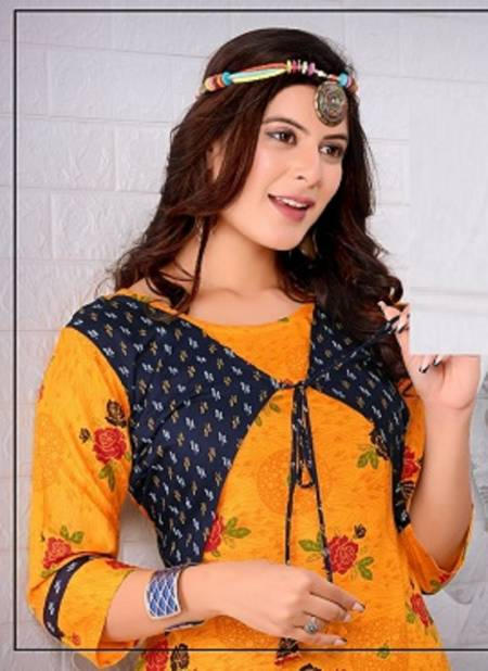 Trendy Tip Top Heavy Latest Fancy Designer Rayon Printed Jacket Kurti With Bottom Collection