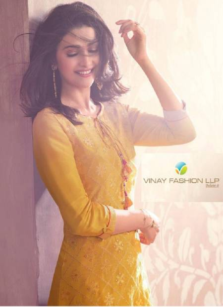 VINAY FASHION LIGHTNING VOL-4 Latest Fancy Festive Wear Pure Viscose Dola Jacquard With Minakari Work Heavy Kurti With Palazzo Collection