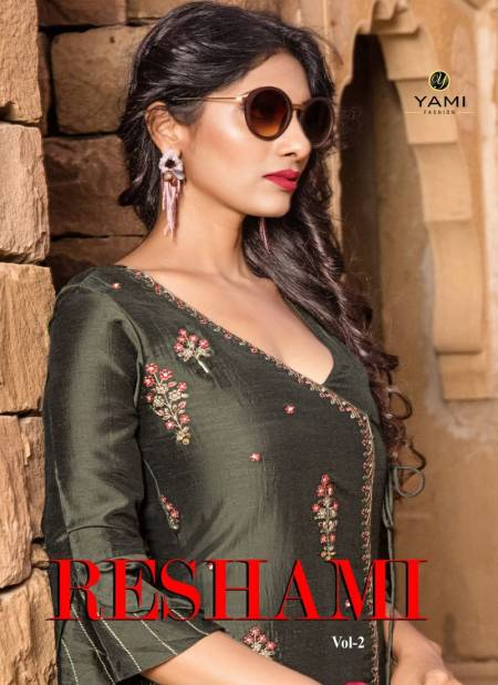 YAMI RESHAMI VOL-2 Latest Fancy Festive Wear Viscos Embroidery Work Kurtis With palazzo Collection