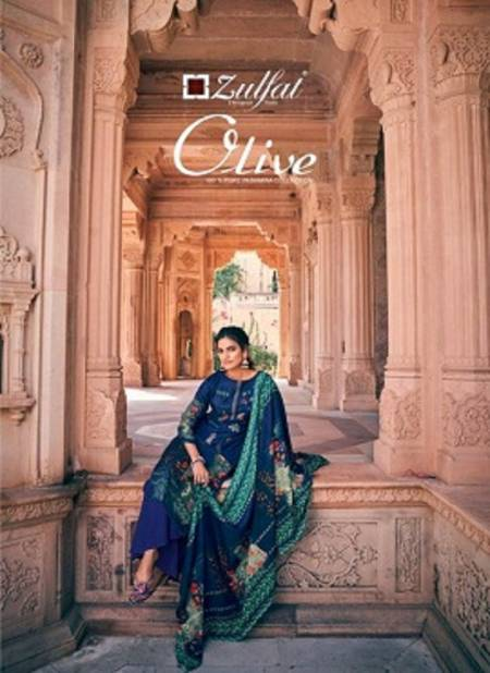 Zulfat Olive Latest Pure Pashmina Print with Heavy Embroidery Casual Wear Designer Dress Material Collection