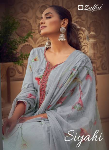 Zulfat Siyahi 3 Latest Fancy Designer Festive Wear Pure Cotton Digital Style Print with Fancy Embroider work Designer Dress Material Collection