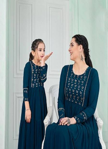 Zuri Mom And Daughter Kurti Ethnic Wear Heavy Blumming Georgette Embroidery Exclusive look with Gota patti Lace Designer Kurtis Collection