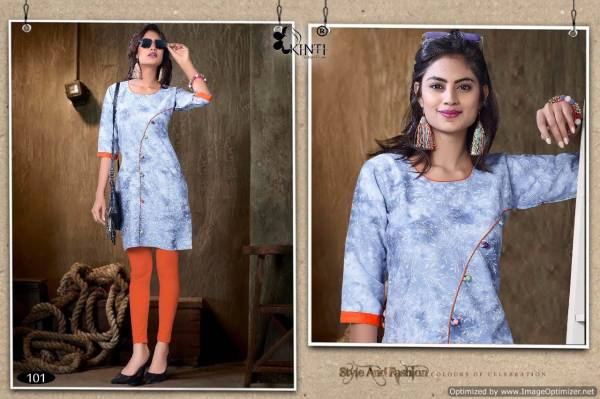 kinti ice cream Latest Designer Fancy Regular Denim Wear Kurtis Collection