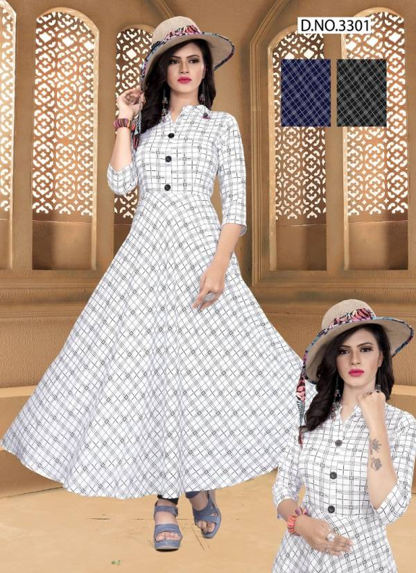 Bandhvi 3301 Latest Fancy Casual Wear Anarkali Style Rayon Printed Flair Style Kurti Collection