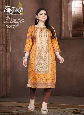 Alishka Bingo Latest Designer Tusser Silk With Inner Digital Print And Handwork Long Kurti Collection