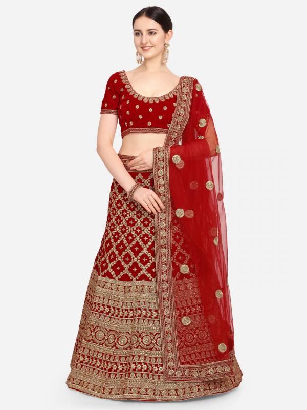 Manali Exclusive Bridal Embroidered Velvet Lehenga Choli Collection